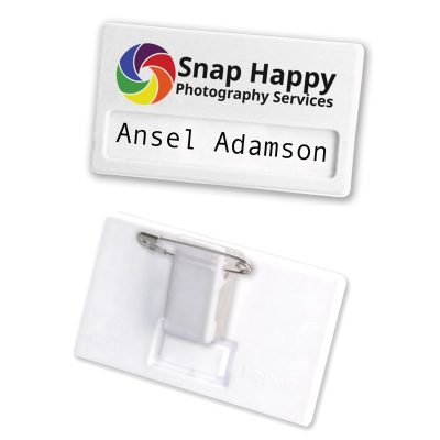 Recycled 70mm Name Badge - White